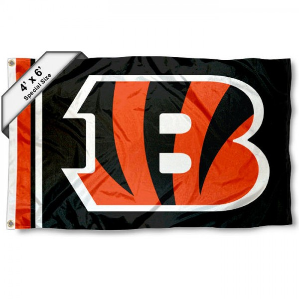 Cincinnati Bengals 4x6 Flag measures a large 4x6 feet, is made polyester, has quadruple stitched flyends, two metal grommets, and offers screen printed NFL Cincinnati Bengals logos and insignias. Our Cincinnati Bengals 4x6 Foot Flag is NFL Officially Licensed and Cincinnati Bengals approved.