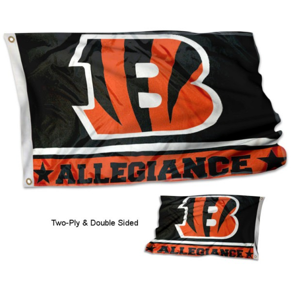 Cincinnati Bengals Allegiance Flag measures 3'x5', is made of 2-ply double sided polyester with liner, has quadruple stitched sewing, two metal grommets, and has two sided team logos. Our Cincinnati Bengals Allegiance Flag is officially licensed by the selected team and the NFL and is available with overnight express shipping.