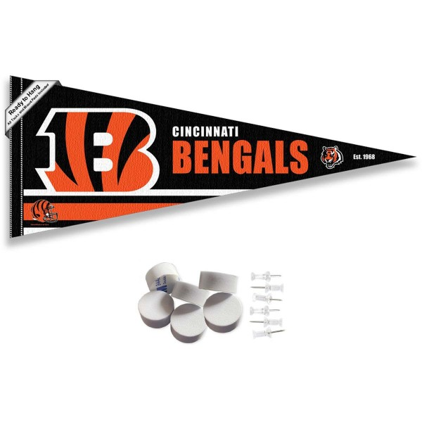 This Cincinnati Bengals Banner Pennant with Tack Wall Pads is 12x30 inches, is made of premium felt blends, has a pennant stick sleeve, and the team logos are single sided screen printed. Our Cincinnati Bengals Banner Pennant Flag is NFL Officially Licensed and include our 6 pack of wall adhesive pads and tacks.