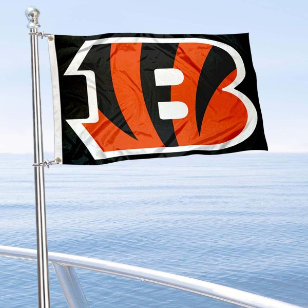 "Our Cincinnati Bengals Boat and Nautical Flag is 12""x18"", made of three-ply poly, has a solid header with two metal grommets, and is double sided. This Boat and Nautical Flag for Cincinnati Bengals is Officially Licensed by the NFL and can also be used as a motorcycle flag, boat flag, golf cart flag, or recreational flag."