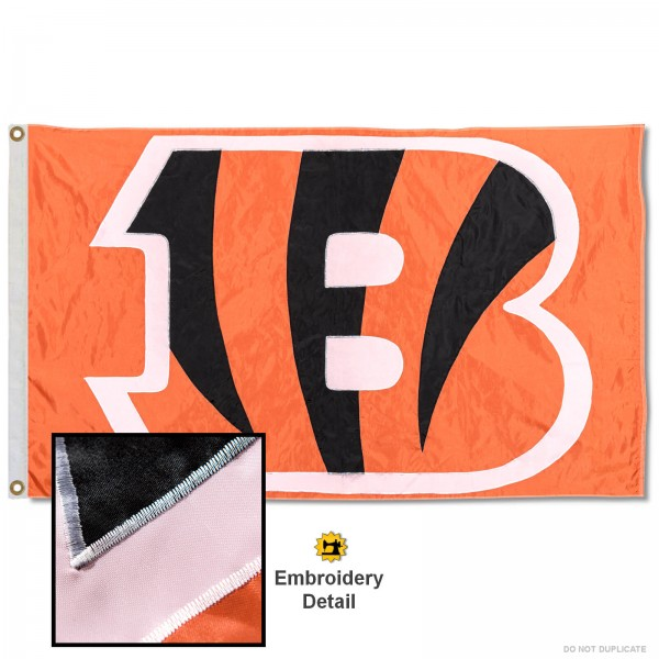This Cincinnati Bengals Embroidered Nylon Flag is double sided, made of nylon, 3'x5', has two metal grommets, indoor or outdoor, and four-stitched fly ends. These Cincinnati Bengals Embroidered Nylon Flags are Officially Approved the Cincinnati Bengals and NFL.