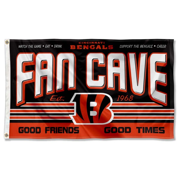 Our Cincinnati Bengals Fan Cave Flag Large Banner is double sided, made of poly, 3'x5', has two metal grommets, indoor or outdoor, and four-stitched fly ends. These Cincinnati Bengals Fan Cave Flag Large Banners are Officially Approved by the Cincinnati Bengals.