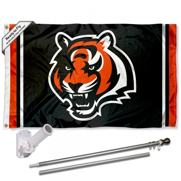 Our Cincinnati Bengals Flag Pole and Bracket Kit includes the flag as shown and the recommended flagpole and flag bracket. The flag is made of polyester, has quad-stitched flyends, and the NFL Licensed team logos are double sided screen printed. The flagpole and bracket are made of rust proof aluminum and includes all hardware so this kit is ready to install and fly.