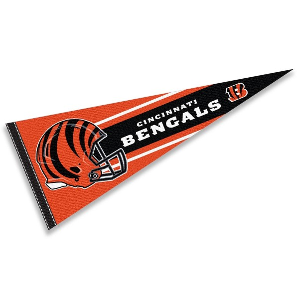 This Cincinnati Bengals Football Pennant measures 12x30 inches, is constructed of felt, and is single sided screen printed with the Cincinnati Bengals logo and helmets. This Cincinnati Bengals Football Pennant is a NFL Officially Licensed product.