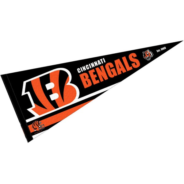 This Cincinnati Bengals Full Size Pennant is 12x30 inches, is made of premium felt blends, has a pennant stick sleeve, and the team logos are single sided screen printed. Our Cincinnati Bengals Full Size Pennant is NFL Officially Licensed.