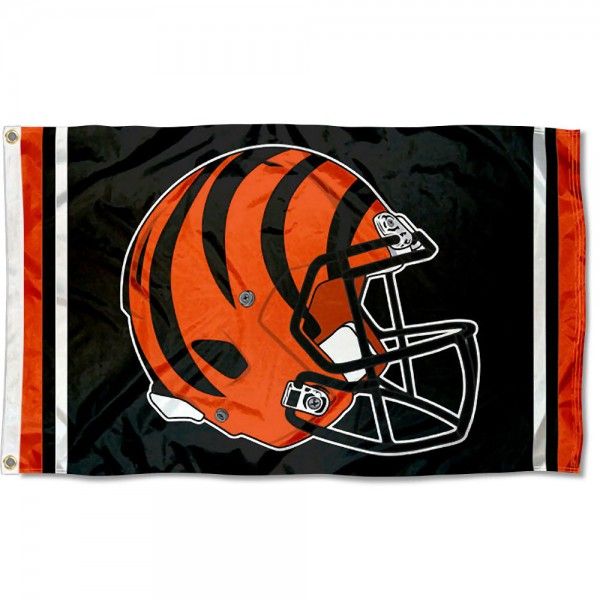 Our Cincinnati Bengals New Helmet Flag is two sided, made of poly, 3'x5', Overnight Shipping, has two metal grommets, indoor or outdoor, and four-stitched fly ends. These Cincinnati Bengals New Helmet Flags are Officially Approved by the Cincinnati Bengals.