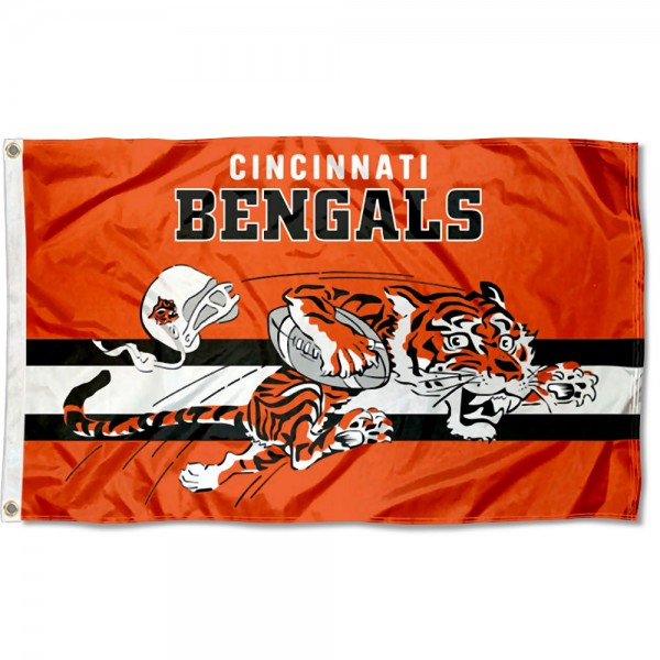Our Cincinnati Bengals Throwback Retro Vintage Logo Flag is double sided, made of poly, 3'x5', has two metal grommets, indoor or outdoor, and four-stitched fly ends. These Cincinnati Bengals Throwback Retro Vintage Logo Flags are Officially Approved by the Cincinnati Bengals.