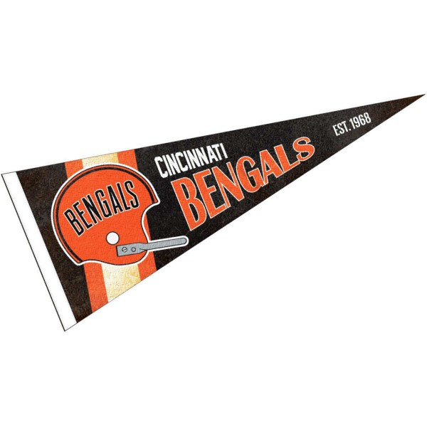 This Cincinnati Bengals Throwback Vintage Retro Pennant is 12x30 inches, is made of premium felt blends, has a pennant stick sleeve, and the team logos are single sided screen printed. Our Cincinnati Bengals Throwback Vintage Retro Pennant is NFL Officially Licensed.