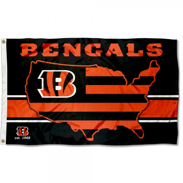 Our Cincinnati Bengals USA Country Flag is double sided, made of poly, 3'x5', has two metal grommets, indoor or outdoor, and four-stitched fly ends. These Cincinnati Bengals USA Country Flags are Officially Approved by the Cincinnati Bengals.