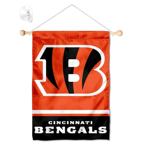 "Cincinnati Bengals Window and Wall Banner kit includes our 12.5""x18"" garden banner which is made of 2 ply poly with liner and has screen printed licensed logos. Also, a 17"" wide banner pole with suction cup is included so your Cincinnati Bengals Window and Wall Banner is ready to be displayed with no tools needed for setup. Fast Overnight Shipping is offered and the flag is Officially Licensed and Approved by the selected team."