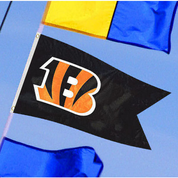 Cincinnati Bengals Yacht Flag measures 12x18 inches, is made of two-ply polyesters, offers double stitched flyends for durability, has two metal grommets, and is viewable from both sides. Our Cincinnati Bengals Yacht Flag is Officially Licensed by the NFL and Teams and can be used as a motorcycle flag, golf cart flag, or ATV flag.