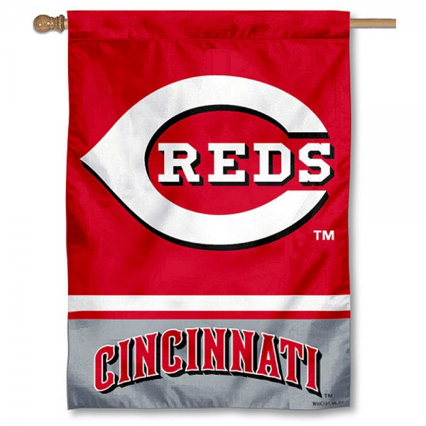 Cincinnati Reds Double Sided House Flag is screen printed with Cincinnati Reds logos, is made of 2-ply 100% polyester, and is two sided and double sided. Our banners measure 28x40 inches and hang vertically with a top pole sleeve to insert your banner pole or flagpole.