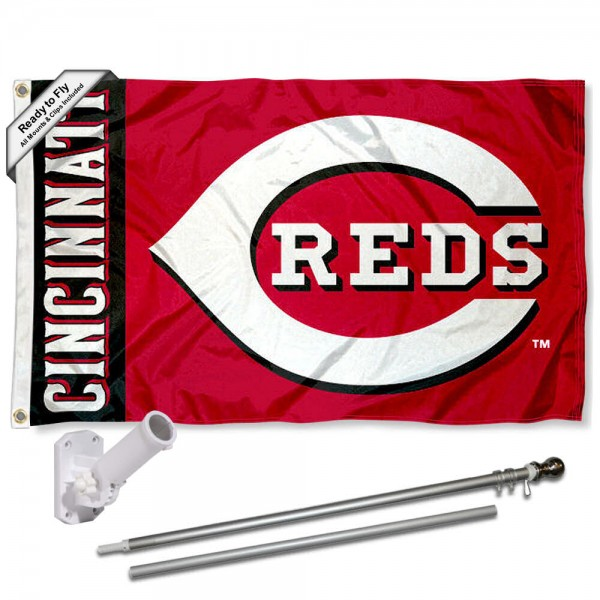 Our Cincinnati Reds Flag Pole and Bracket Kit includes the flag as shown and the recommended flagpole and flag bracket. The flag is made of polyester, has quad-stitched flyends, and the MLB Licensed team logos are double sided screen printed. The flagpole and bracket are made of rust proof aluminum and includes all hardware so this kit is ready to install and fly.