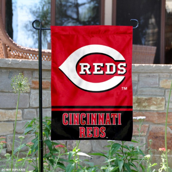 Cincinnati Reds Garden Flag is 12.5x18 inches in size, is made of 2-ply polyester, and has two sided screen printed logos and lettering. Available with Express Next Day Shipping, our Cincinnati Reds Garden Flag is MLB Genuine Merchandise and is double sided.