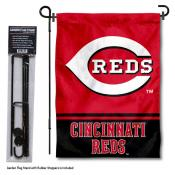 Cincinnati Reds Logo Garden Flag and Stand