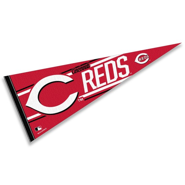 This Cincinnati Reds Pennant measures 12x30 inches, is constructed of felt, and is single sided screen printed with the Cincinnati Reds logo and insignia. Each Cincinnati Reds Pennant is a MLB Genuine Merchandise product.