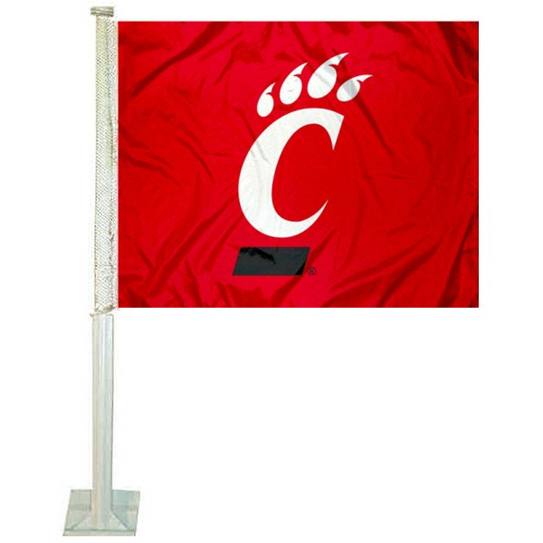Cincinnati UC Bearcats Car Window Flag measures 12x15 inches, is constructed of sturdy 2 ply polyester, and has screen printed school logos which are readable and viewable correctly on both sides. Cincinnati UC Bearcats Car Window Flag is officially licensed by the NCAA and selected university.