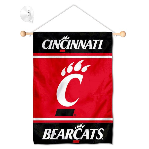 "Cincinnati UC Bearcats Window and Wall Banner kit includes our 13""x18"" garden banner which is made of 2 ply poly with liner and has screen printed licensed logos. Also, a 17"" wide banner pole with suction cup is included so your Cincinnati UC Bearcats Window and Wall Banner is ready to be displayed with no tools needed for setup. Fast Overnight Shipping is offered and the flag is Officially Licensed and Approved by the selected team."