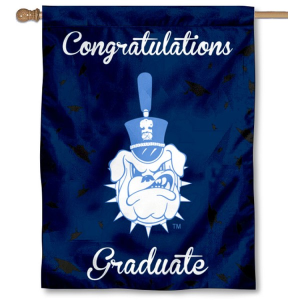 Citadel Bulldogs Congratulations Graduate Flag measures 30x40 inches, is made of poly, has a top hanging sleeve, and offers dye sublimated Citadel Bulldogs logos. This Decorative Citadel Bulldogs Congratulations Graduate House Flag is officially licensed by the NCAA.