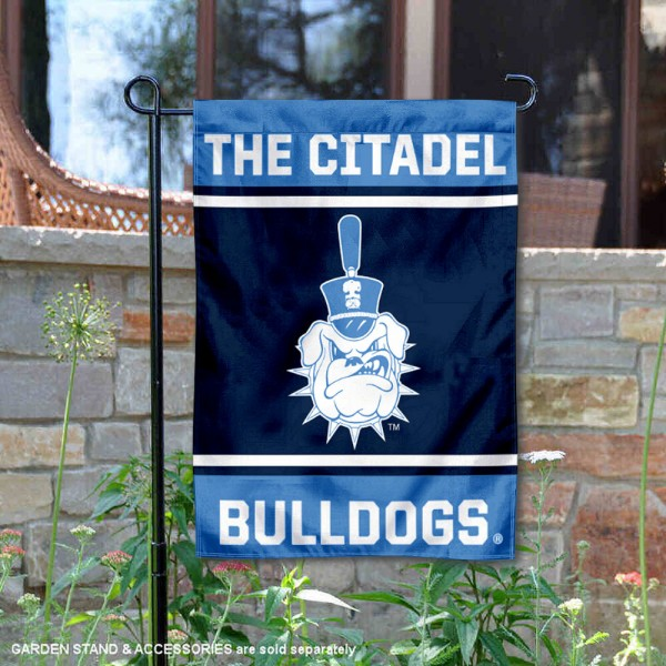 Citadel Bulldogs Garden Flag is 13x18 inches in size, is made of 2-layer polyester, screen printed logos and lettering. Available with Same Day Express Shipping, Our Citadel Bulldogs Garden Flag is officially licensed and approved by the NCAA.