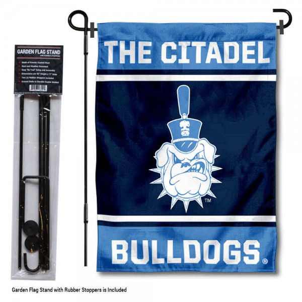 "Citadel Bulldogs Garden Flag and Pole Stand Holder kit includes our 13""x18"" garden banner which is made of 2 ply poly with liner and has screen printed licensed logos. Also, a 40""x17"" inch garden flag stand is included so your Citadel Bulldogs Garden Flag and Pole Stand Holder is ready to be displayed with no tools needed for setup. Fast Overnight Shipping is offered and the flag is Officially Licensed and Approved by the selected team."