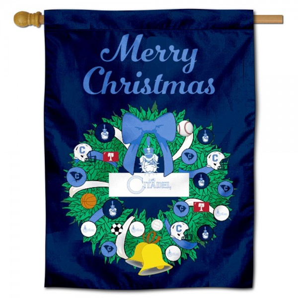 Citadel Bulldogs Happy Holidays Banner Flag measures 30x40 inches, is made of poly, has a top hanging sleeve, and offers dye sublimated Citadel Bulldogs logos. This Decorative Citadel Bulldogs Happy Holidays Banner Flag is officially licensed by the NCAA.