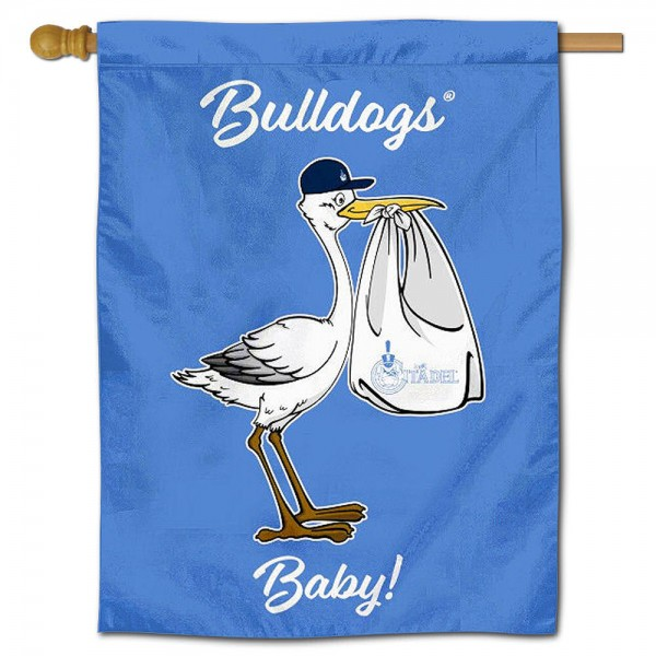 Citadel Bulldogs New Baby Flag measures 30x40 inches, is made of poly, has a top hanging sleeve, and offers dye sublimated Citadel Bulldogs logos. This Decorative Citadel Bulldogs New Baby House Flag is officially licensed by the NCAA.