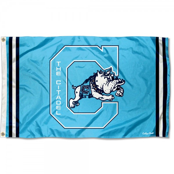 Citadel Bulldogs Throwback Vault Logo Flag measures 3x5 feet, is made of 100% polyester, offers quadruple stitched flyends, has two metal grommets, and offers screen printed NCAA team logos and insignias. Our Citadel Bulldogs Throwback Vault Logo Flag is officially licensed by the selected university and NCAA.