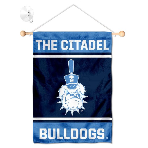 "Citadel Bulldogs Window and Wall Banner kit includes our 13""x18"" garden banner which is made of 2 ply poly with liner and has screen printed licensed logos. Also, a 17"" wide banner pole with suction cup is included so your Citadel Bulldogs Window and Wall Banner is ready to be displayed with no tools needed for setup. Fast Overnight Shipping is offered and the flag is Officially Licensed and Approved by the selected team."