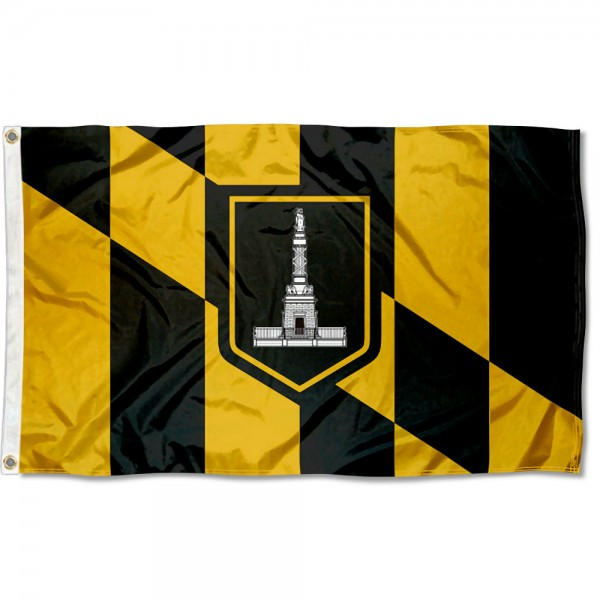 City of Baltimore Flag measures 3'x5', is made of 100% poly, has quadruple stitched sewing, two metal grommets, and has double sided City of Baltimore logos.