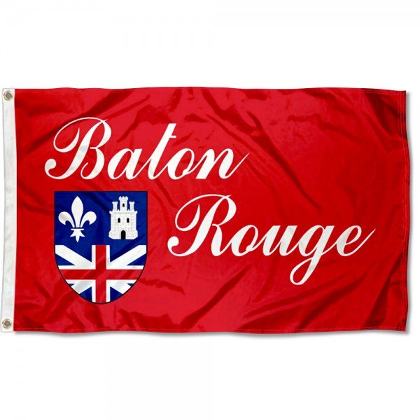 City of Baton Rouge Flag measures 3'x5', is made of 100% poly, has quadruple stitched sewing, two metal grommets, and has double sided City of Baton Rouge logos.