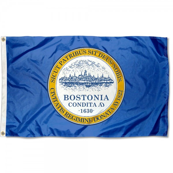 City of Boston Flag measures 3'x5', is made of 100% poly, has quadruple stitched sewing, two metal grommets, and has double sided City of Boston logos.