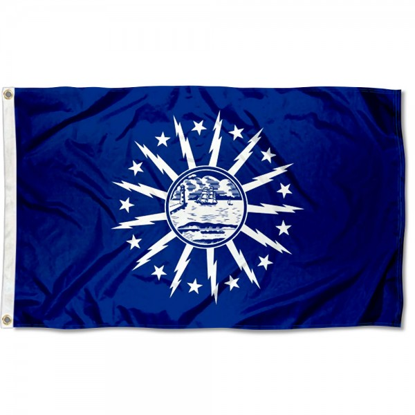 City of Buffalo Flag measures 3'x5', is made of 100% poly, has quadruple stitched sewing, two metal grommets, and has double sided City of Buffalo logos.