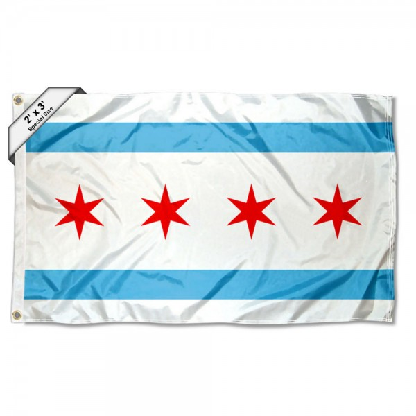 City of Chicago 2x3 Flag measures 2'x3', is made of 100% poly, has quadruple stitched sewing, two metal grommets, and has double sided City of Chicago logos.