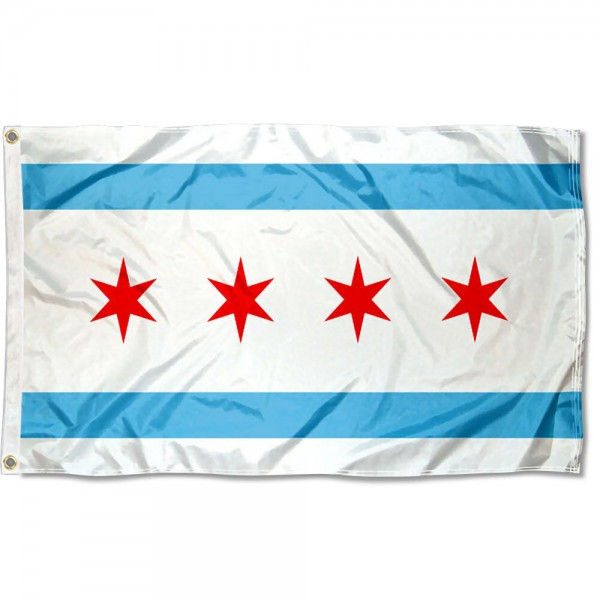 City of Chicago Flag measures 3'x5', is made of 100% poly, has quadruple stitched sewing, two metal grommets, and has double sided City of Chicago logos.