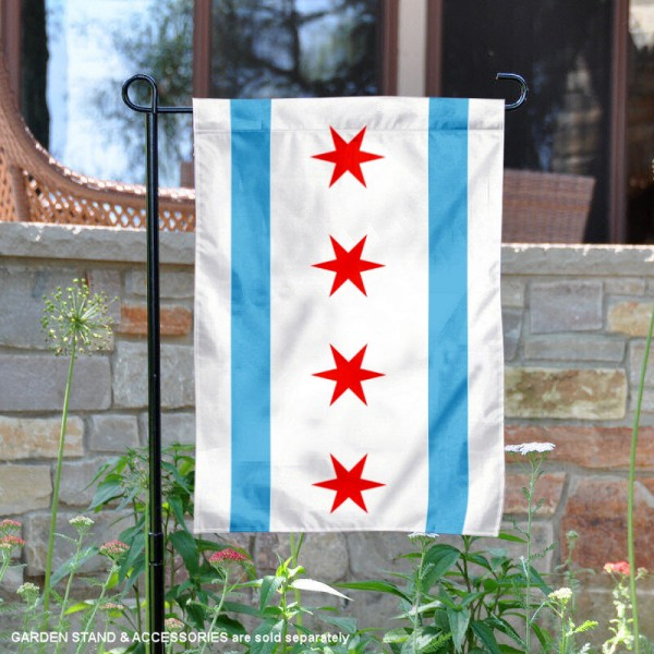 City of Chicago Garden Flag is 13x18 inches in size, is made of 2-layer polyester, screen printed logos and lettering, and is viewable on both sides. Available same day shipping, our City of Chicago Garden Flag is a great addition to your decorative garden flag selections.