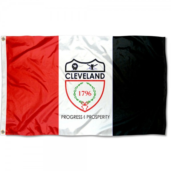 City of Cleveland Flag measures 3'x5', is made of 100% poly, has quadruple stitched sewing, two metal grommets, and has double sided City of Cleveland logos.