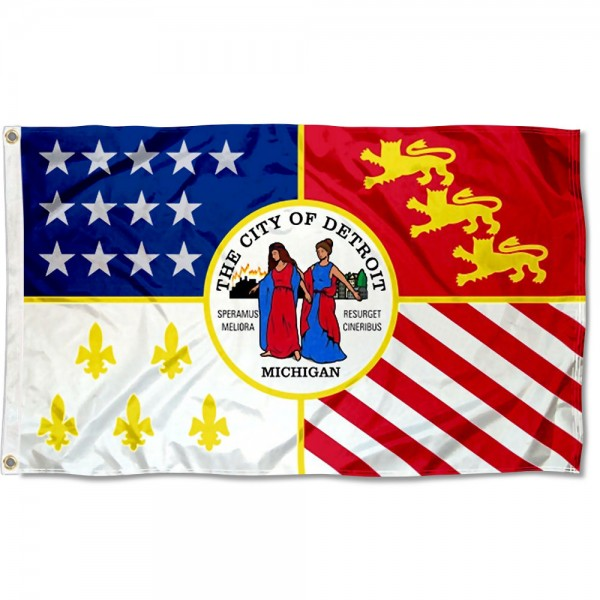 City of Detroit Flag measures 3'x5', is made of 100% poly, has quadruple stitched sewing, two metal grommets, and has double sided City of Detroit logos.