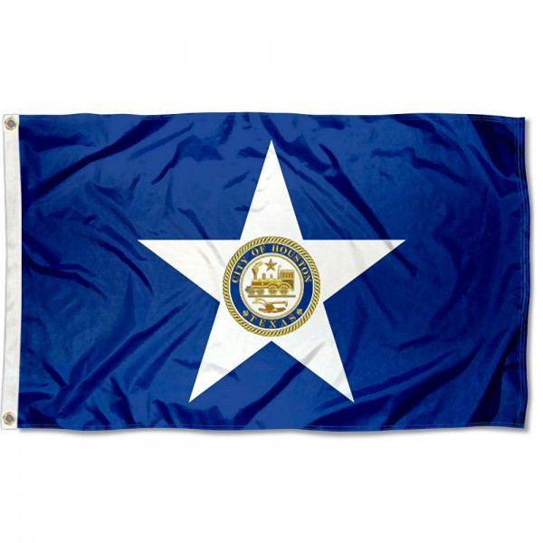 City of Houston Flag measures 3'x5', is made of 100% poly, has quadruple stitched sewing, two metal grommets, and has double sided City of Houston logos.