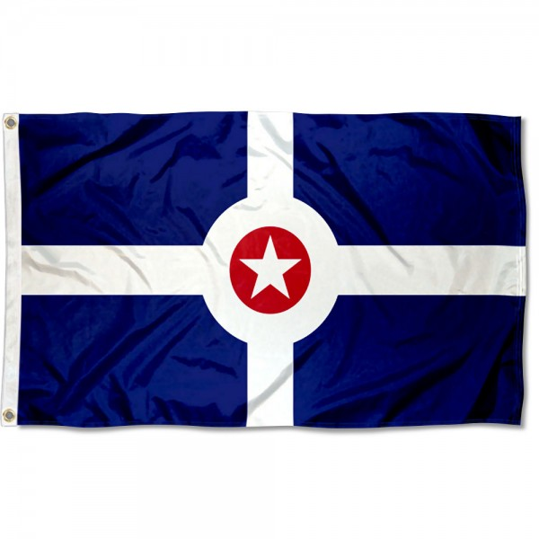 City of Indianapolis Flag measures 3'x5', is made of 100% poly, has quadruple stitched sewing, two metal grommets, and has double sided City of Indianapolis logos.