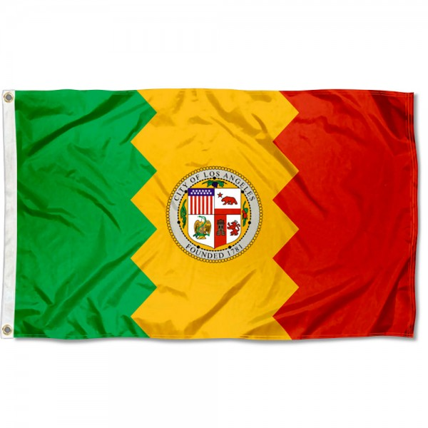 City of Los Angeles Flag measures 3'x5', is made of 100% poly, has quadruple stitched sewing, two metal grommets, and has double sided City of Los Angeles logos.