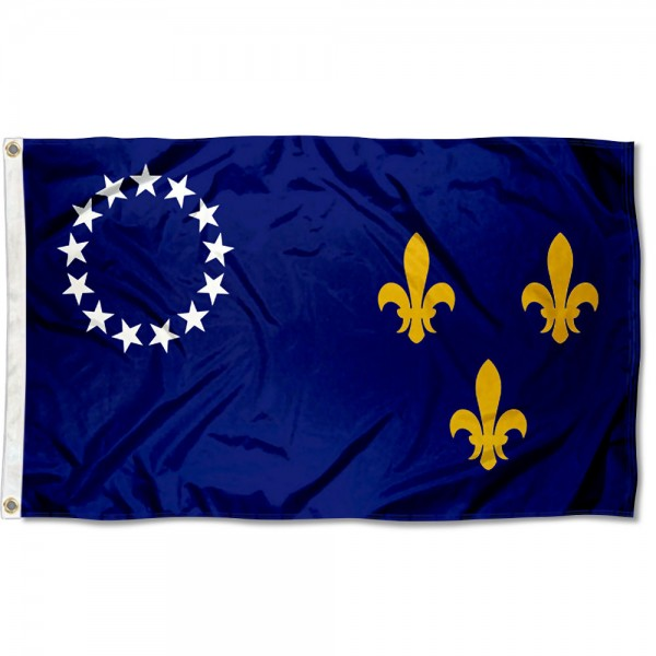 City of Louisville Flag measures 3'x5', is made of 100% poly, has quadruple stitched sewing, two metal grommets, and has double sided City of Louisville logos.