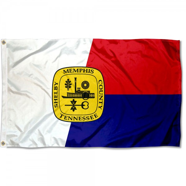 City of Memphis Flag measures 3'x5', is made of 100% poly, has quadruple stitched sewing, two metal grommets, and has double sided City of Memphis logos.