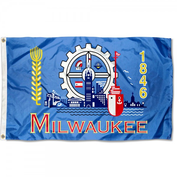 City of Milwaukee Flag measures 3'x5', is made of 100% poly, has quadruple stitched sewing, two metal grommets, and has double sided City of Milwaukee logos.