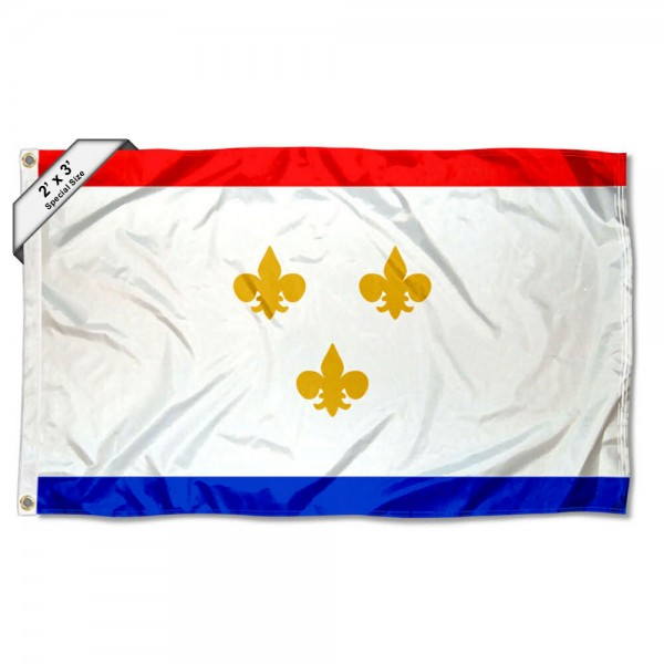 City of New Orleans 2x3 Flag measures 2'x3', is made of 100% poly, has quadruple stitched sewing, two metal grommets, and has double sided City of New Orleans logos.
