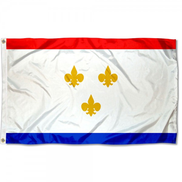 City of New Orleans Flag measures 3'x5', is made of 100% poly, has quadruple stitched sewing, two metal grommets, and has double sided City of New Orleans logos.