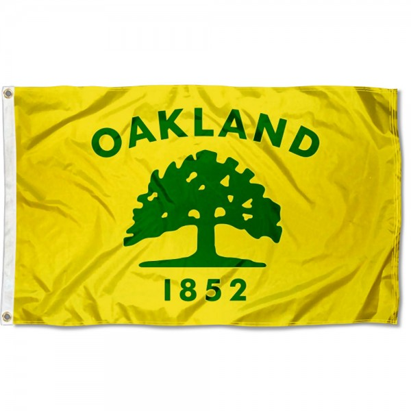 City of Oakland Flag measures 3'x5', is made of 100% poly, has quadruple stitched sewing, two metal grommets, and has double sided City of Oakland logos.