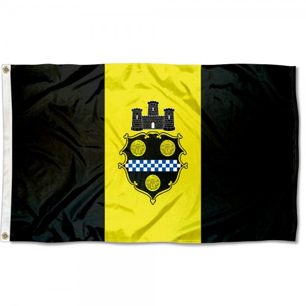 City of Pittsburgh Flag measures 3'x5', is made of 100% poly, has quadruple stitched sewing, two metal grommets, and has double sided City of Pittsburgh logos.