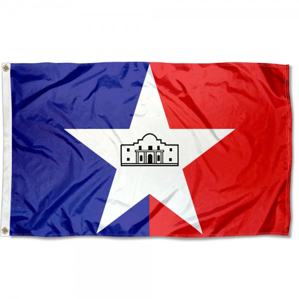 City of San Antonio Flag measures 3'x5', is made of 100% poly, has quadruple stitched sewing, two metal grommets, and has double sided City of San Antonio logos.