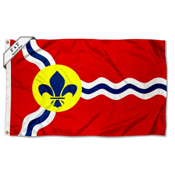 City of St Louis 2x3 Flag measures 2'x3', is made of 100% poly, has quadruple stitched sewing, two metal grommets, and has double sided City of St Louis logos.